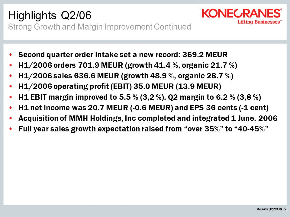 Results Q2/2006 2 Highlights Q2/06 Strong Growth and Margin Improvement Continued Second quarter order intake set a new record: 369.2 MEUR H1/2006 ord