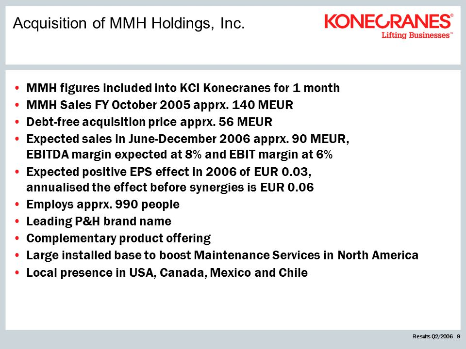 Results Q2/2006 9 MMH figures included into KCI Konecranes for 1 month MMH Sales FY October 2005 apprx. 140 MEUR Debt-free acquisition price apprx. 56