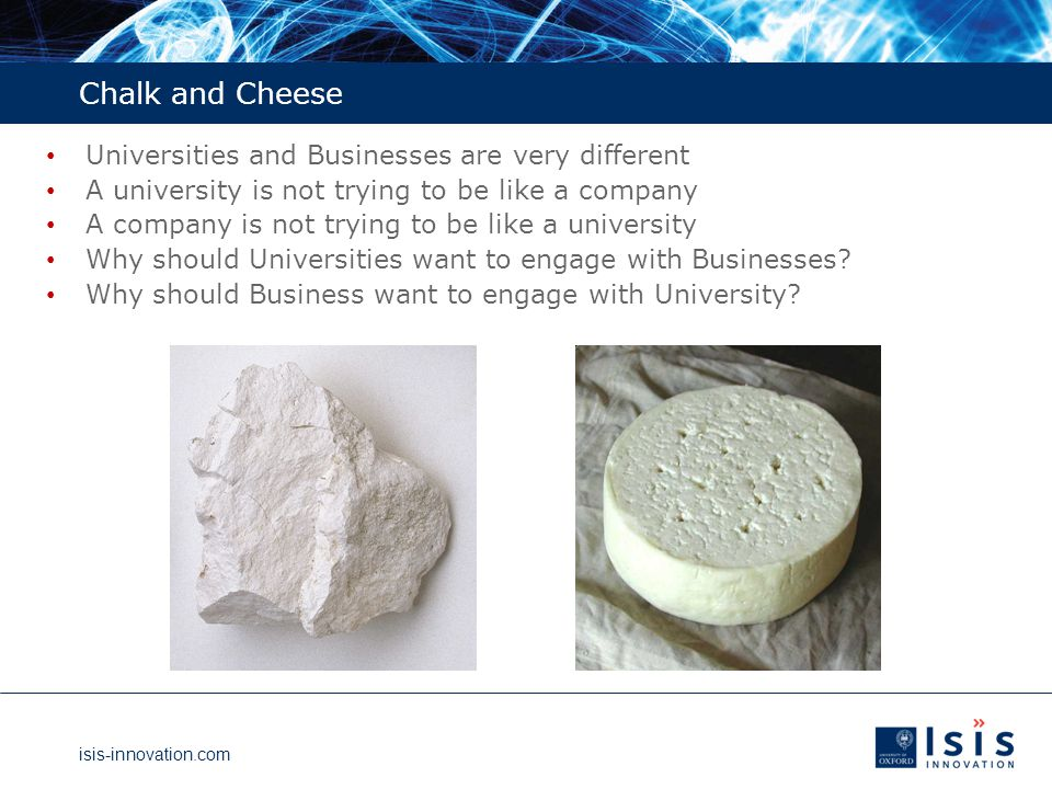 isis-innovation.com Conclusions – How Isis Works Universities Technology Transfer is a good thing Part of University purpose; may make money for University and researchers It does not happen on its own You need to invest resources in People, Patent budget, Proof-of-Concept You need a policy framework Who owns the inventions; who shares the rewards It takes a long time … So start and do not stop.