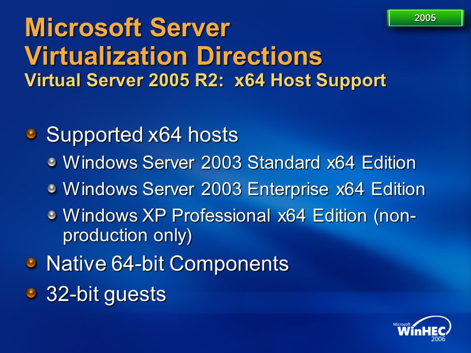 Microsoft Server Virtualization Directions Virtual Server 2005 R2: x64 Host Support Supported x64 hosts Windows Server 2003 Standard x64 Edition Windo