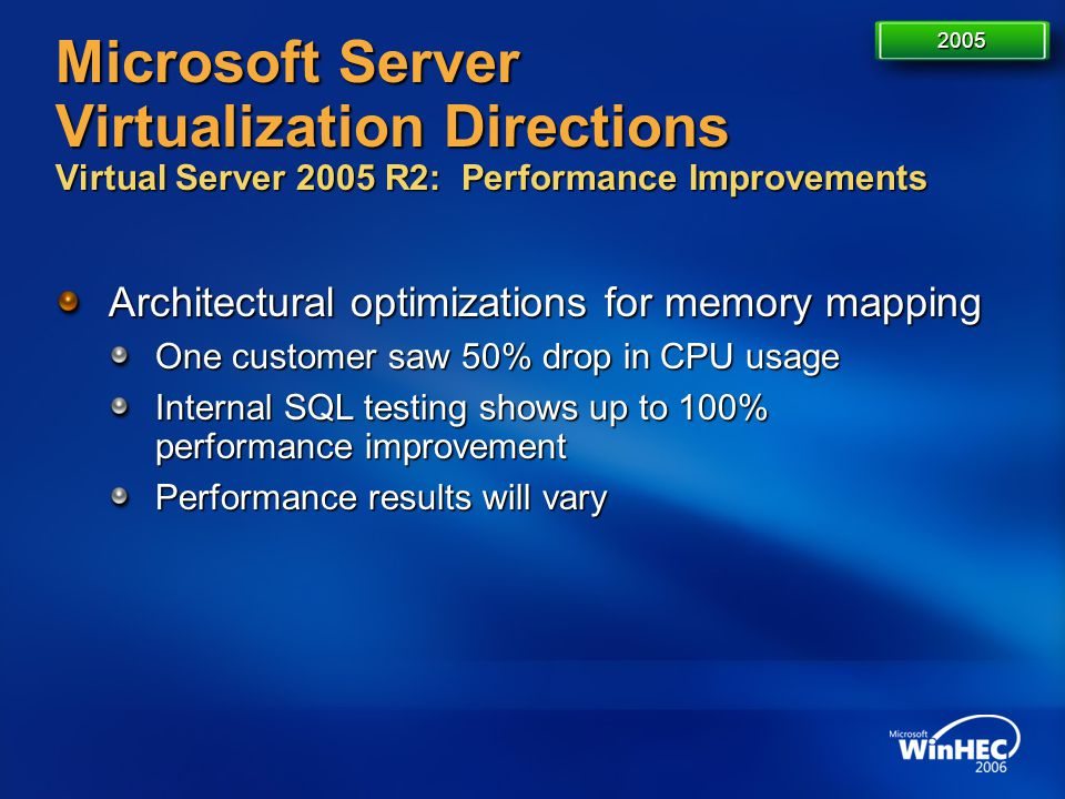 Microsoft Server Virtualization Directions Virtual Server 2005 R2: Performance Improvements Architectural optimizations for memory mapping One custome