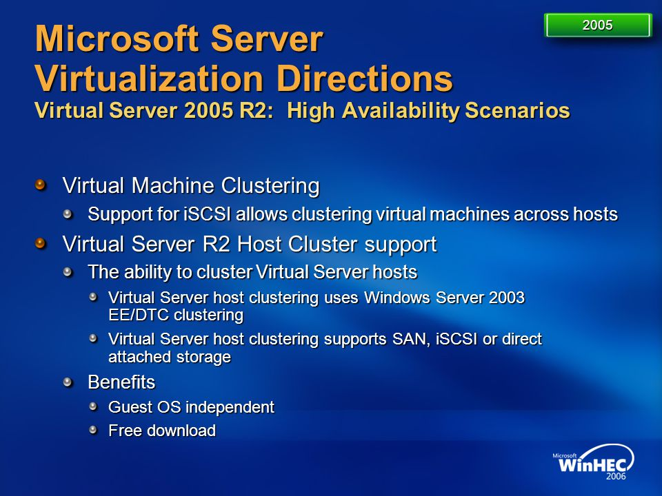 Microsoft Server Virtualization Directions Virtual Server 2005 R2: High Availability Scenarios Virtual Machine Clustering Support for iSCSI allows clu