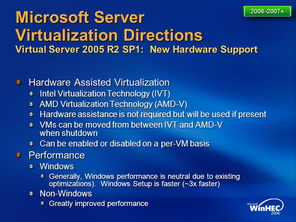 Microsoft Server Virtualization Directions Virtual Server 2005 R2 SP1: New Hardware Support Hardware Assisted Virtualization Intel Virtualization Tech