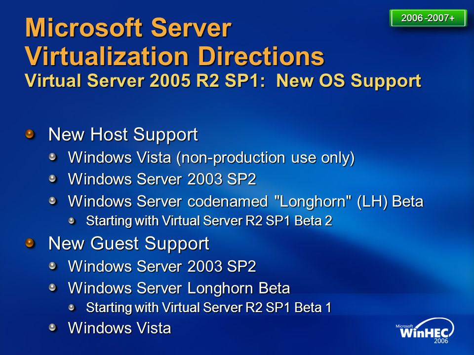 Microsoft Server Virtualization Directions Virtual Server 2005 R2 SP1: New OS Support New Host Support Windows Vista (non-production use only) Windows