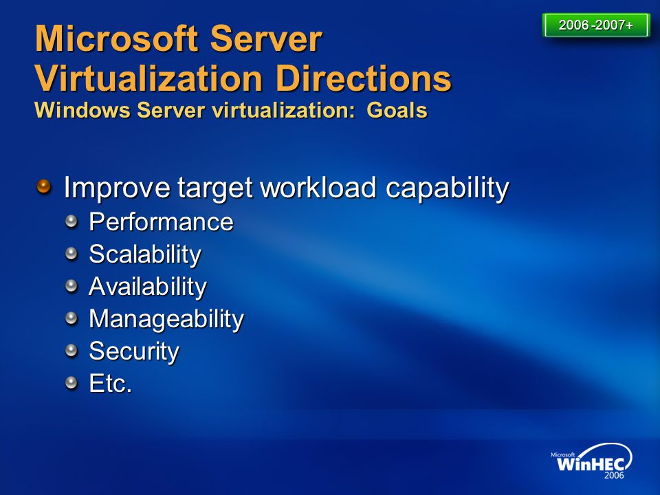 Microsoft Server Virtualization Directions Windows Server virtualization: Goals Improve target workload capability PerformanceScalabilityAvailabilityM