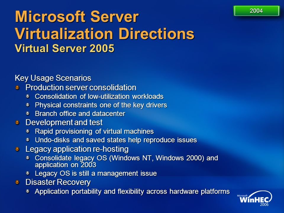 Microsoft Server Virtualization Directions Virtual Server 2005 Key Usage Scenarios Production server consolidation Consolidation of low-utilization wo