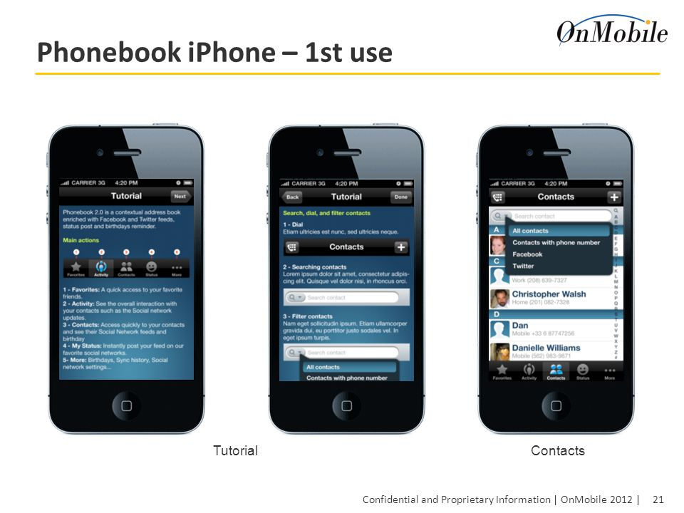 21 Confidential and Proprietary Information | OnMobile 2012 | Phonebook iPhone – 1st use TutorialContacts