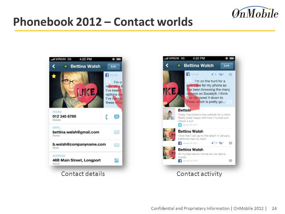 24 Confidential and Proprietary Information | OnMobile 2012 | Phonebook 2012 – Contact worlds Contact detailsContact activity