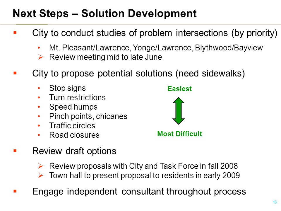 16 Next Steps – Solution Development  City to conduct studies of problem intersections (by priority) Mt.