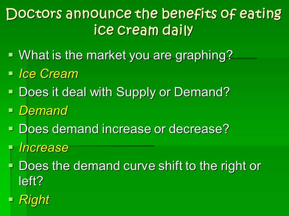 Doctors announce the benefits of eating ice cream daily  What is the market you are graphing?  Ice Cream  Does it deal with Supply or Demand?  Dem
