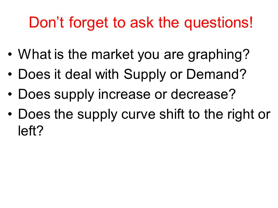 Don't forget to ask the questions! What is the market you are graphing? Does it deal with Supply or Demand? Does supply increase or decrease? Does the