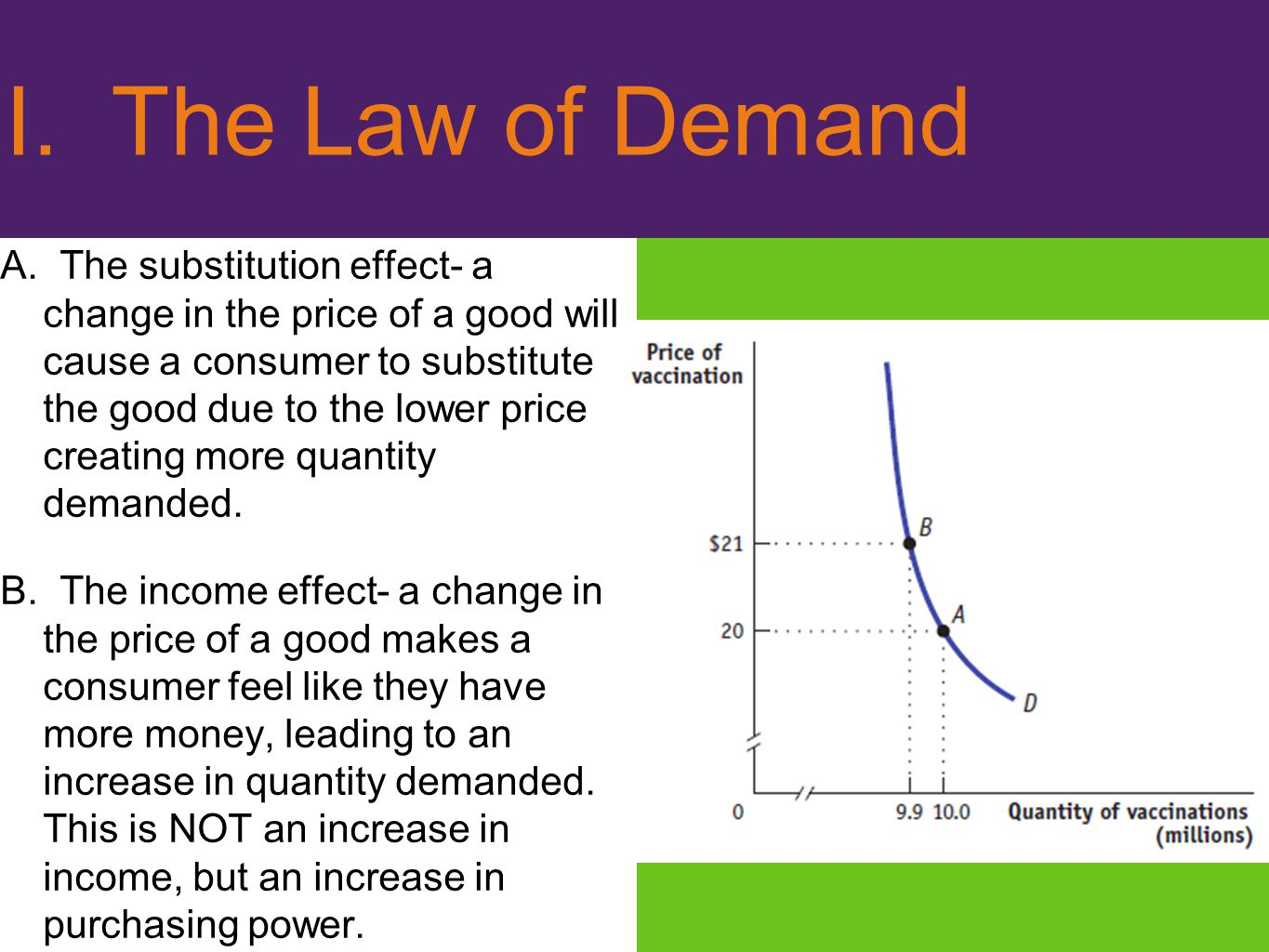 I. The Law of Demand A. The substitution effect- a change in the price of a good will cause a consumer to substitute the good due to the lower price c