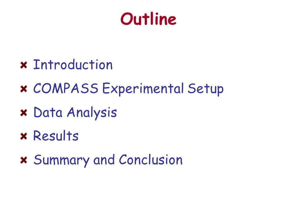 Outline Introduction COMPASS Experimental Setup Data Analysis Results Summary and Conclusion