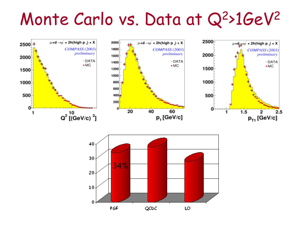 Monte Carlo vs. Data at Q 2 >1GeV 2 34%