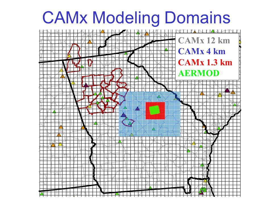 CAMx Modeling Domains CAMx 12 km CAMx 4 km CAMx 1.3 km AERMOD