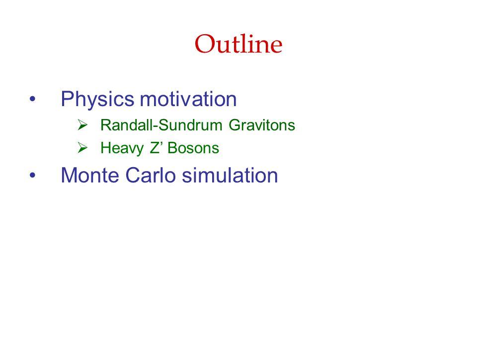 Outline Physics motivation  Randall-Sundrum Gravitons  Heavy Z' Bosons Monte Carlo simulation