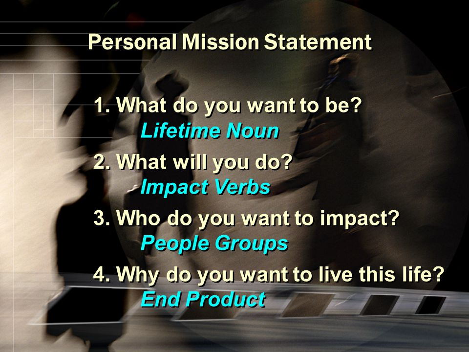 Personal Mission Statement 1. What do you want to be? Lifetime Noun 2. What will you do? Impact Verbs 3. Who do you want to impact? People Groups 4. W