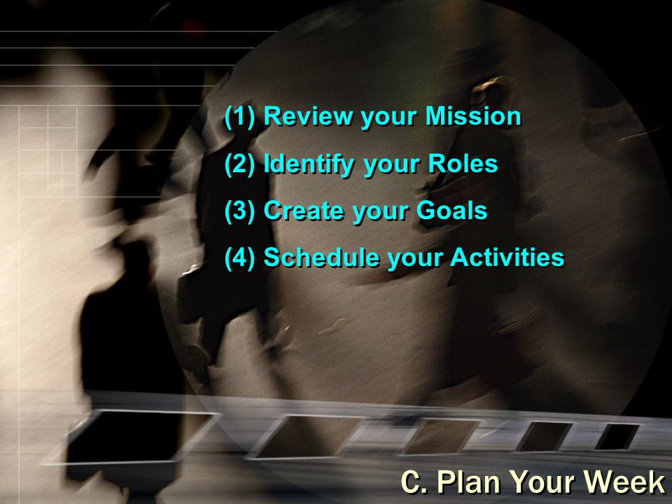 (1) Review your Mission (2) Identify your Roles (3) Create your Goals (4) Schedule your Activities (1) Review your Mission (2) Identify your Roles (3)