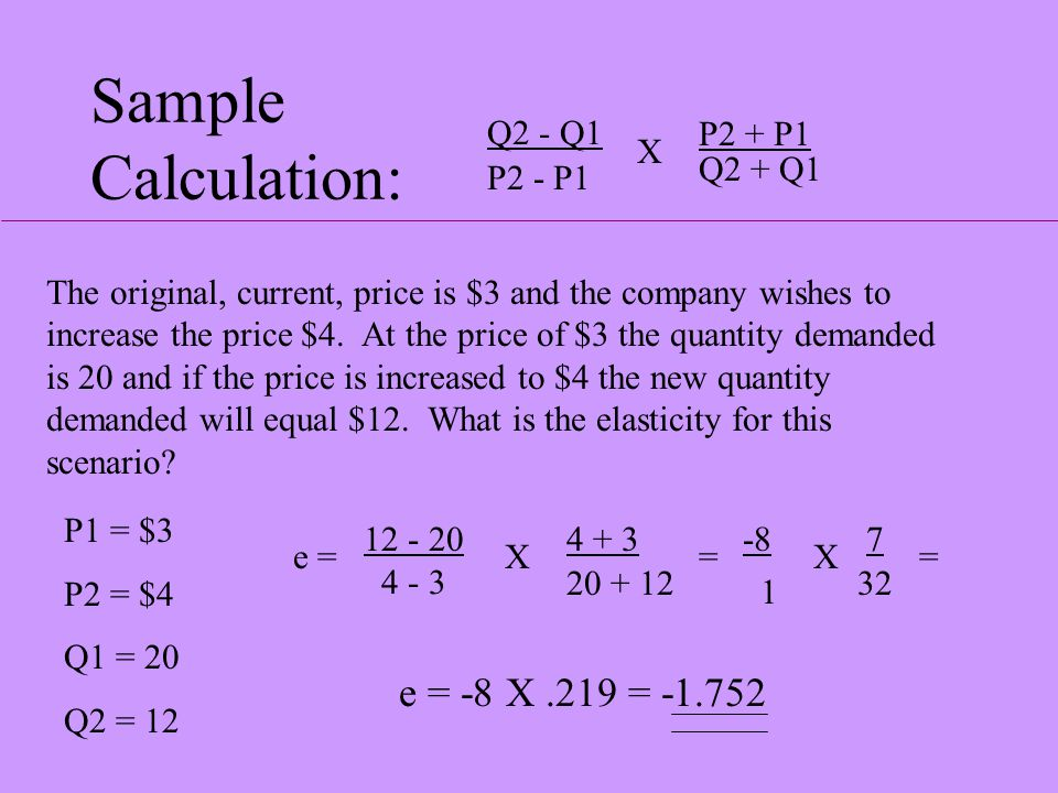 Formula: Q2 - Q1 P2 - P1 P2 + P1 Q2 + Q1 X Q2 represents the second or new quantity. Q1 represents the first or original quantity. P2 represents the s