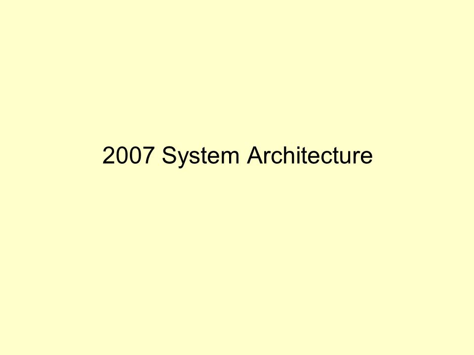 2007 System Architecture