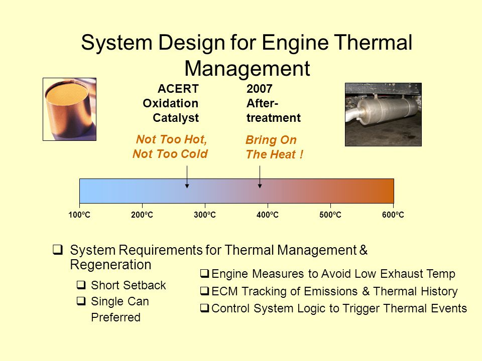 System Design for Engine Thermal Management 100ºC200ºC300ºC400ºC500ºC600ºC  System Requirements for Thermal Management & Regeneration  Short Setback