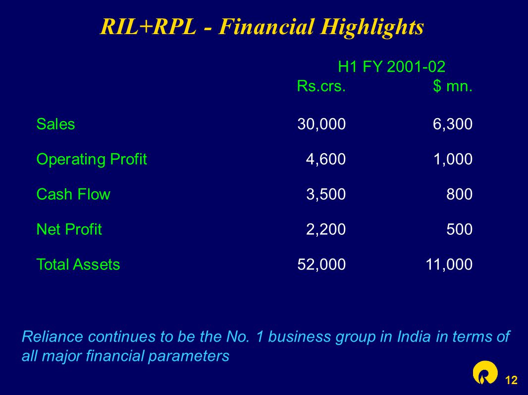 12 RIL+RPL - Financial Highlights H1 FY 2001-02 Rs.crs.$ mn. Sales30,0006,300 Operating Profit4,6001,000 Cash Flow3,500800 Net Profit2,200500 Total As