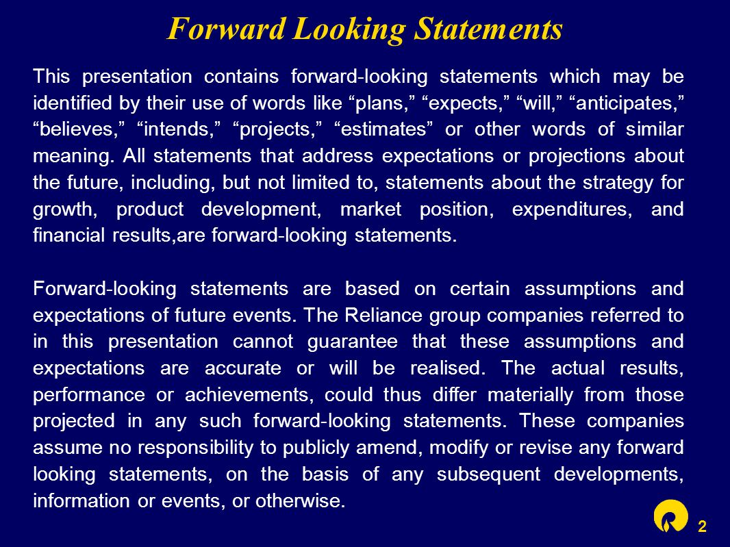 "2 Forward Looking Statements This presentation contains forward-looking statements which may be identified by their use of words like ""plans,"" ""expect"