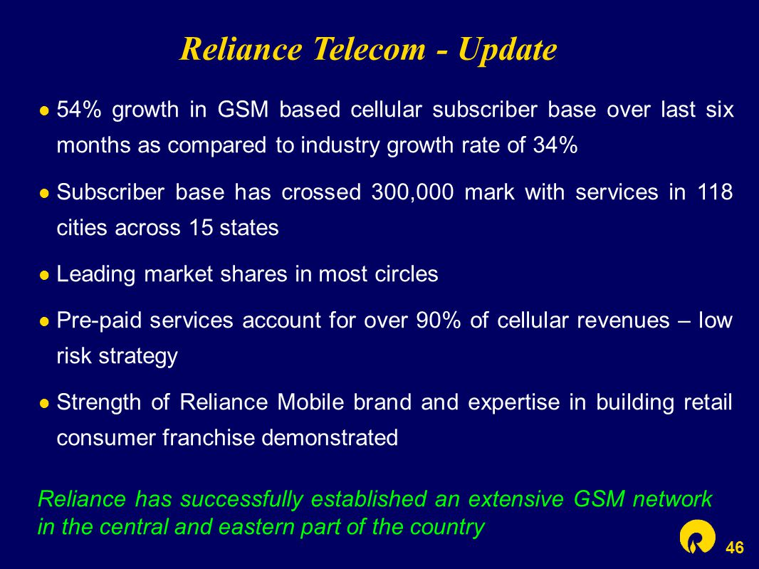 46 Reliance Telecom - Update Reliance has successfully established an extensive GSM network in the central and eastern part of the country 54% growth
