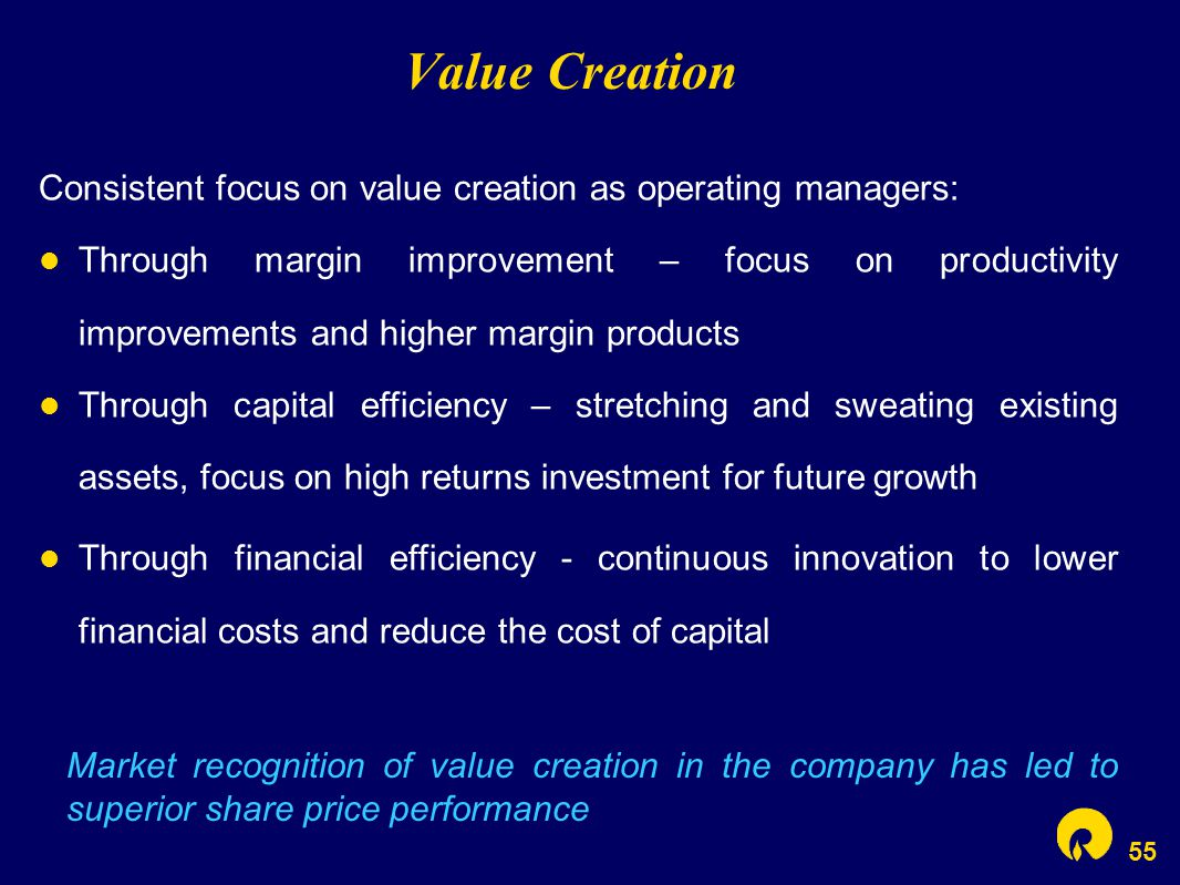 55 Value Creation Market recognition of value creation in the company has led to superior share price performance Consistent focus on value creation a
