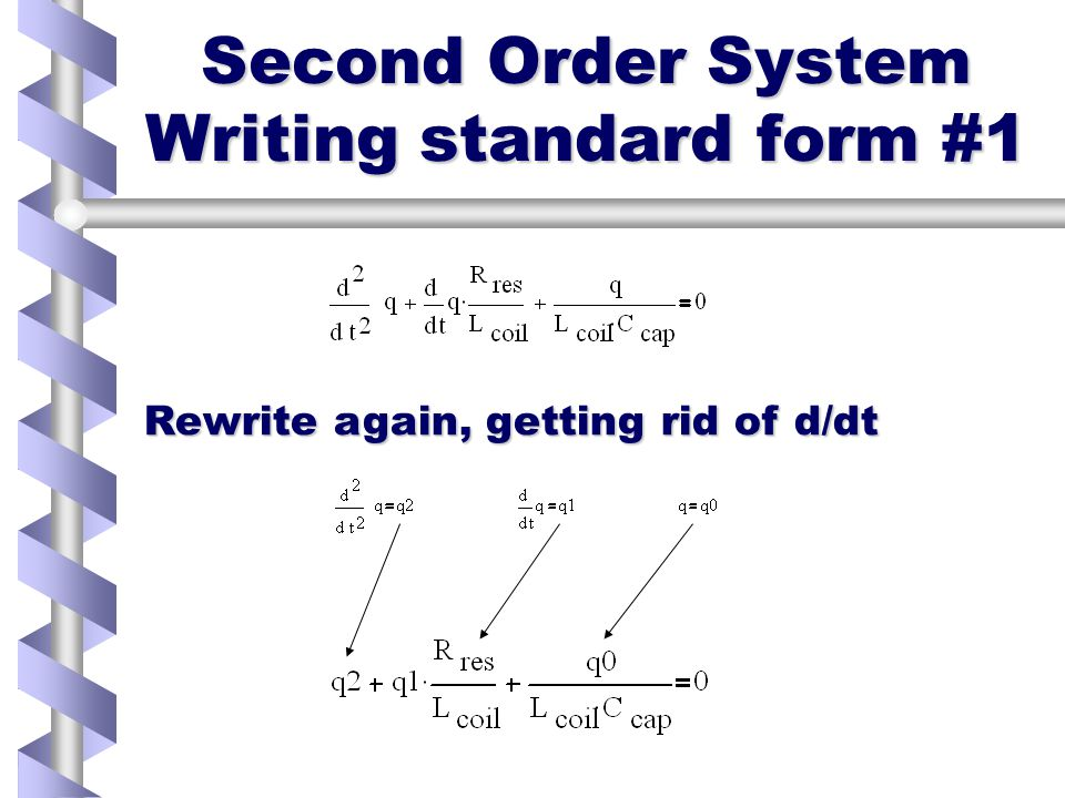 Second order System Forming the equations Use dq/dt=i and divide by L coil To get homogeneous equation in q