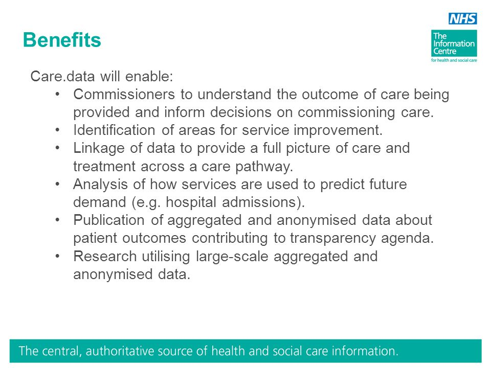 Benefits Care.data will enable: Commissioners to understand the outcome of care being provided and inform decisions on commissioning care.