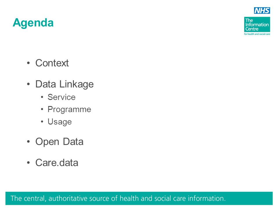 Agenda Context Data Linkage Service Programme Usage Open Data Care.data
