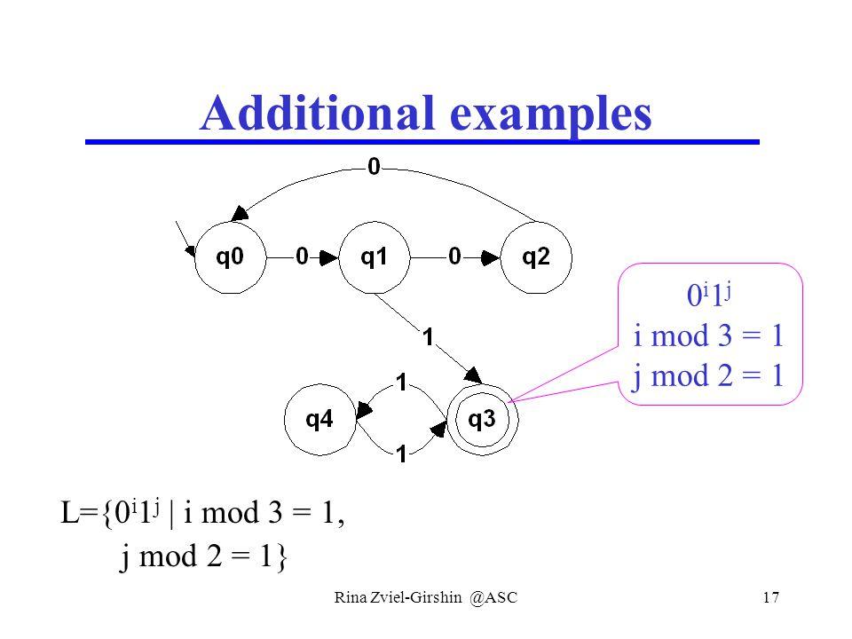 Rina Zviel-Girshin @ASC17 Additional examples L={0 i 1 j | i mod 3 = 1, j mod 2 = 1} 0 i 1 j i mod 3 = 1 j mod 2 = 1