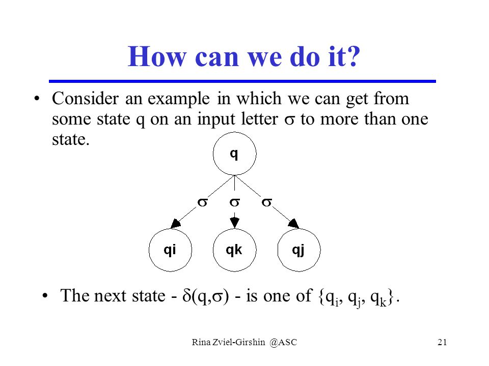 Rina Zviel-Girshin @ASC21 How can we do it? Consider an example in which we can get from some state q on an input letter  to more than one state. The