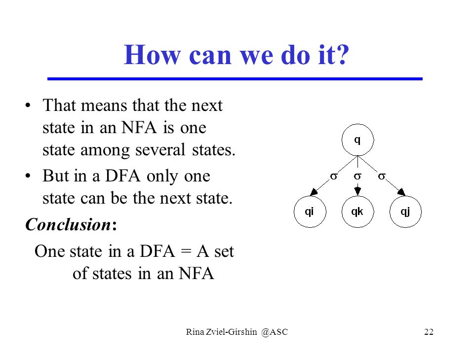 Rina Zviel-Girshin @ASC22 How can we do it? That means that the next state in an NFA is one state among several states. But in a DFA only one state ca