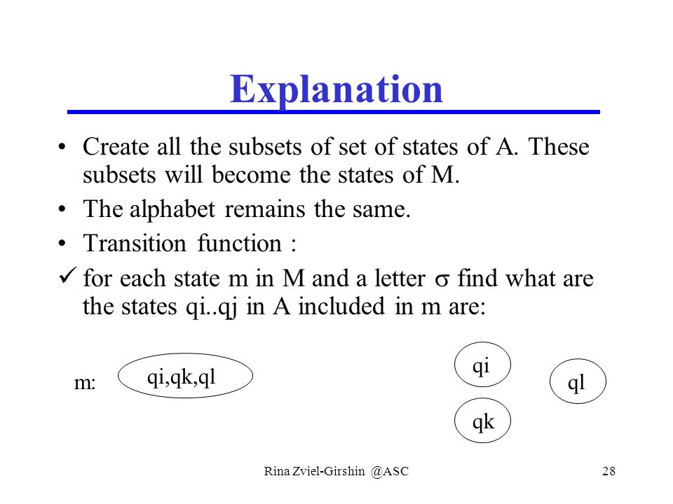 Rina Zviel-Girshin @ASC28 Explanation Create all the subsets of set of states of A.