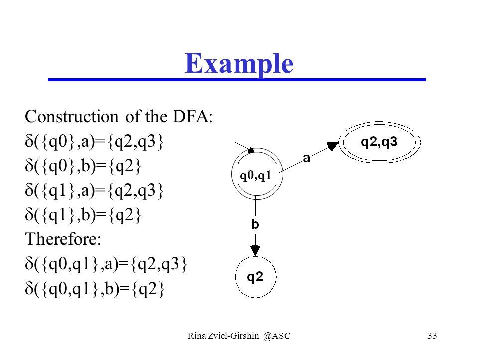 Rina Zviel-Girshin @ASC33 Example Construction of the DFA:  ({q0},a)={q2,q3}  ({q0},b)={q2}  ({q1},a)={q2,q3}  ({q1},b)={q2} Therefore:  ({q0,q1}