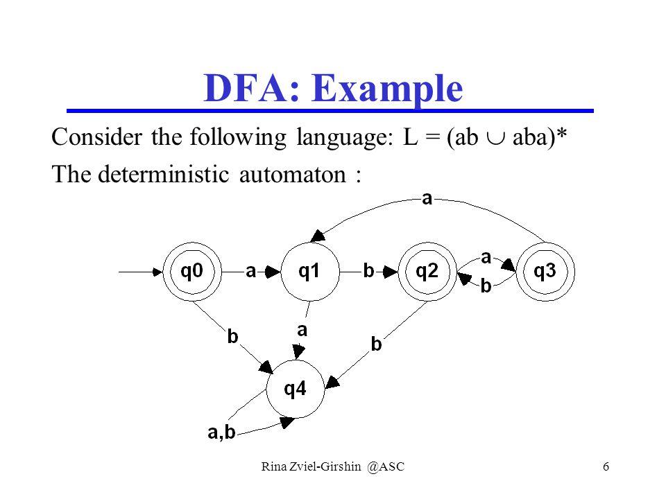 Rina Zviel-Girshin @ASC6 DFA: Example Consider the following language: L = (ab  aba)* The deterministic automaton :