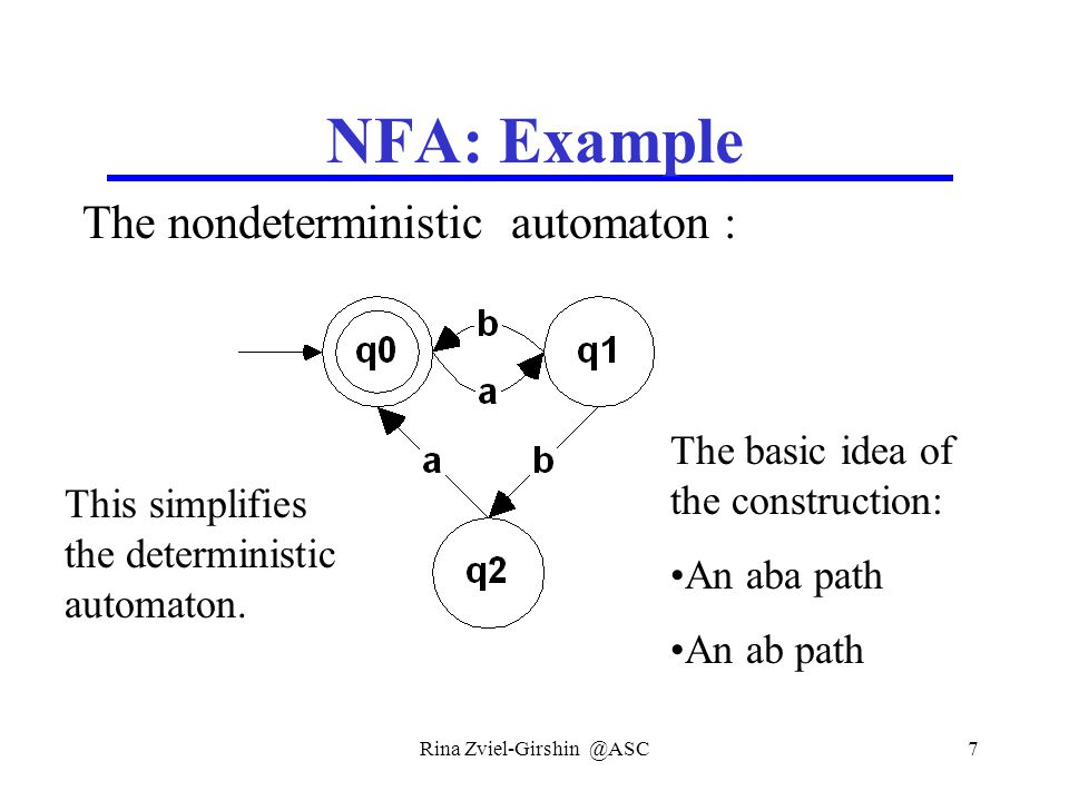 Rina Zviel-Girshin @ASC18 Equivalence of FA Definition: Two automata are equivalent if they recognize the same language.
