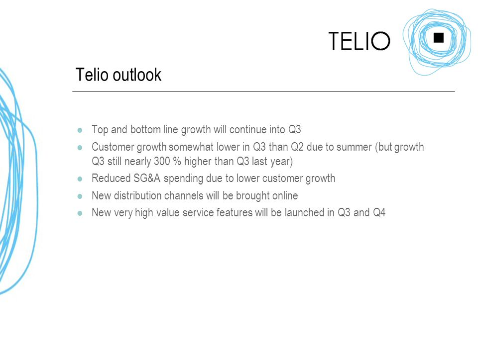 Telio outlook Top and bottom line growth will continue into Q3 Customer growth somewhat lower in Q3 than Q2 due to summer (but growth Q3 still nearly