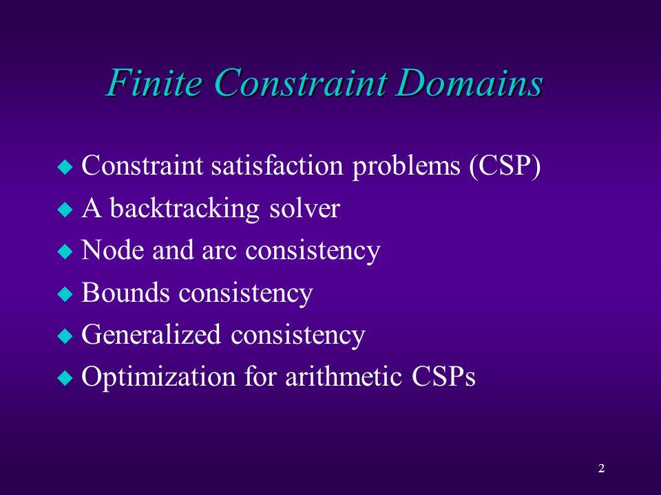 2 u Constraint satisfaction problems (CSP) u A backtracking solver u Node and arc consistency u Bounds consistency u Generalized consistency u Optimization for arithmetic CSPs