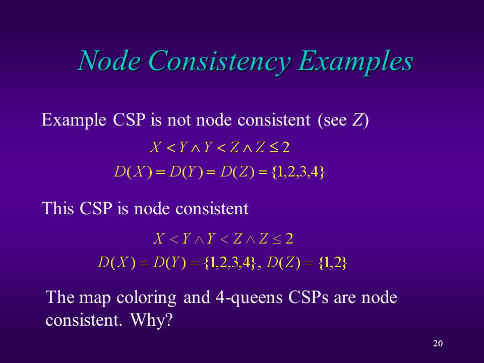 20 Node Consistency Examples Example CSP is not node consistent (see Z) This CSP is node consistent The map coloring and 4-queens CSPs are node consistent.