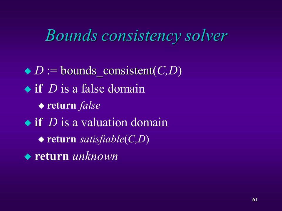 61 Bounds consistency solver bounds_consistent u D := bounds_consistent(C,D) u if D is a false domain u return false u if D is a valuation domain u return satisfiable(C,D) u return unknown