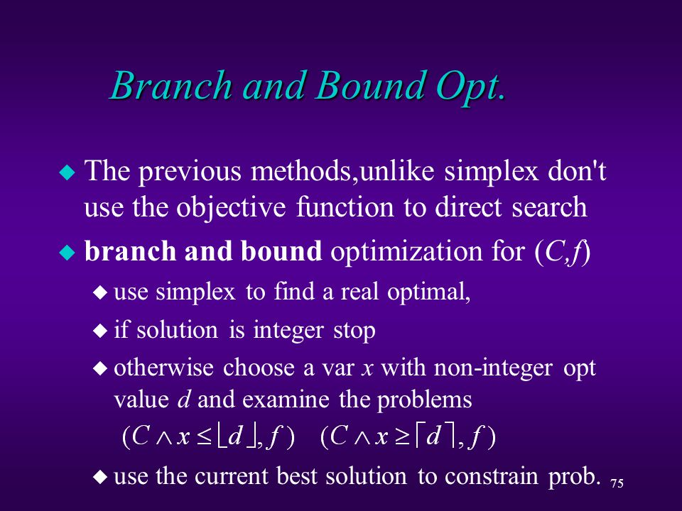 75 Branch and Bound Opt.