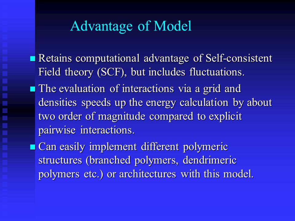 Advantage of Model Retains computational advantage of Self-consistent Field theory (SCF), but includes fluctuations. Retains computational advantage o