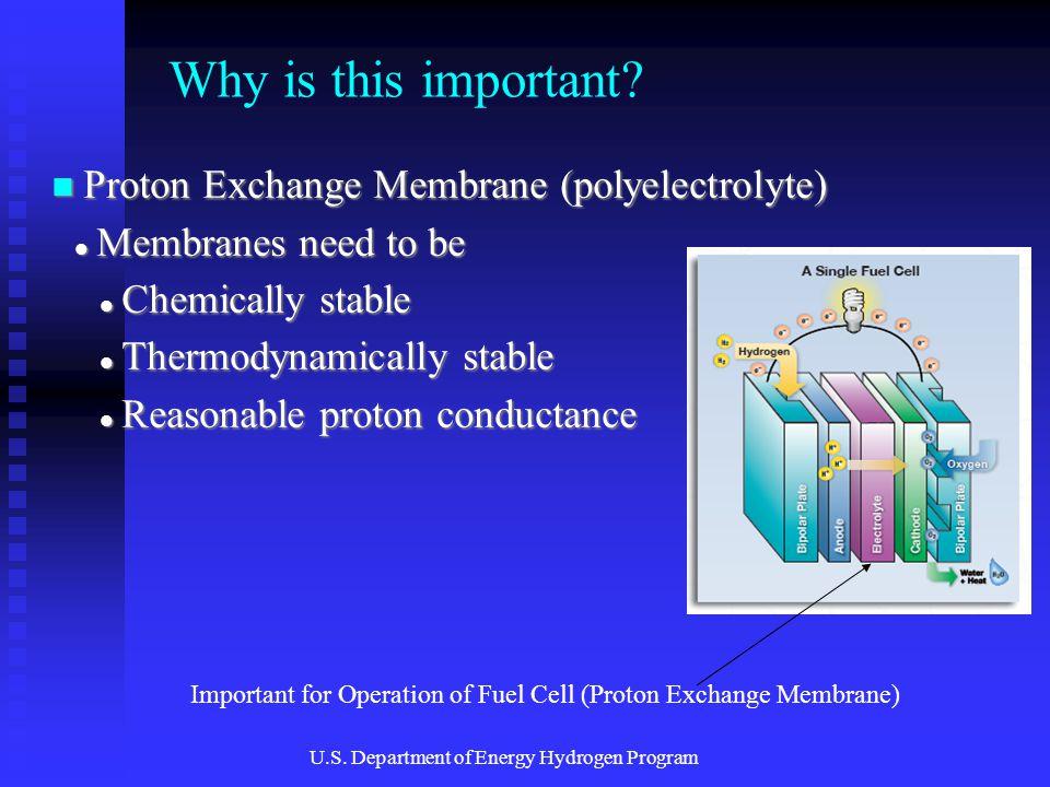 Proton Exchange Membrane (polyelectrolyte) Proton Exchange Membrane (polyelectrolyte) Membranes need to be Membranes need to be Chemically stable Chem