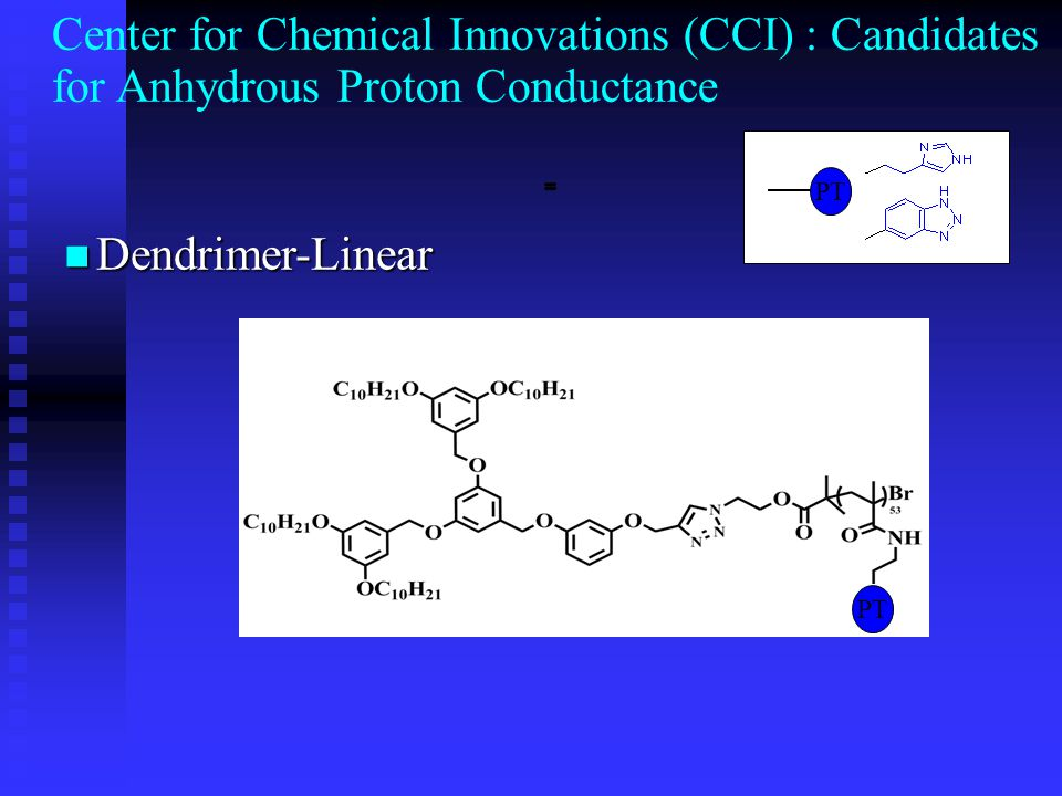 Dendrimer-Linear Dendrimer-Linear PT Center for Chemical Innovations (CCI) : Candidates for Anhydrous Proton Conductance