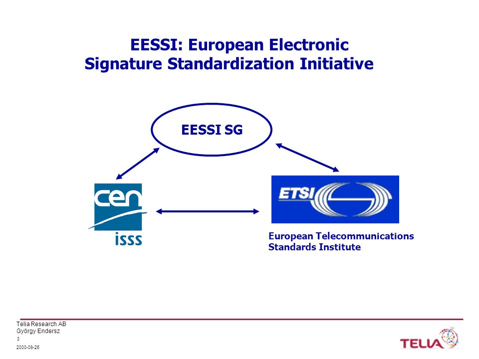 """Telia Research AB György Endersz 2000-09-26 14 SSCD: the trusted element at the user EU-directive requires SSCD to be evaluated and """"confirmed by national bodies A specific Common Criteria Protection Profile will address appropriateness It reflects the requirements regulated in Annex III of the signature Directive It is aimed to remain technology neutral as long as security is not impaired Use of SSCD to be represented in QC SSCD: Secure Signature Creation Device"""