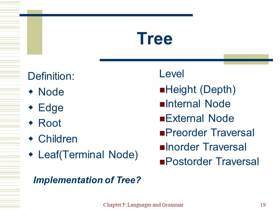 Chapter 5: Languages and Grammar19 Tree Definition:  Node  Edge  Root  Children  Leaf(Terminal Node) Level Height (Depth) Internal Node External Node Preorder Traversal Inorder Traversal Postorder Traversal Implementation of Tree
