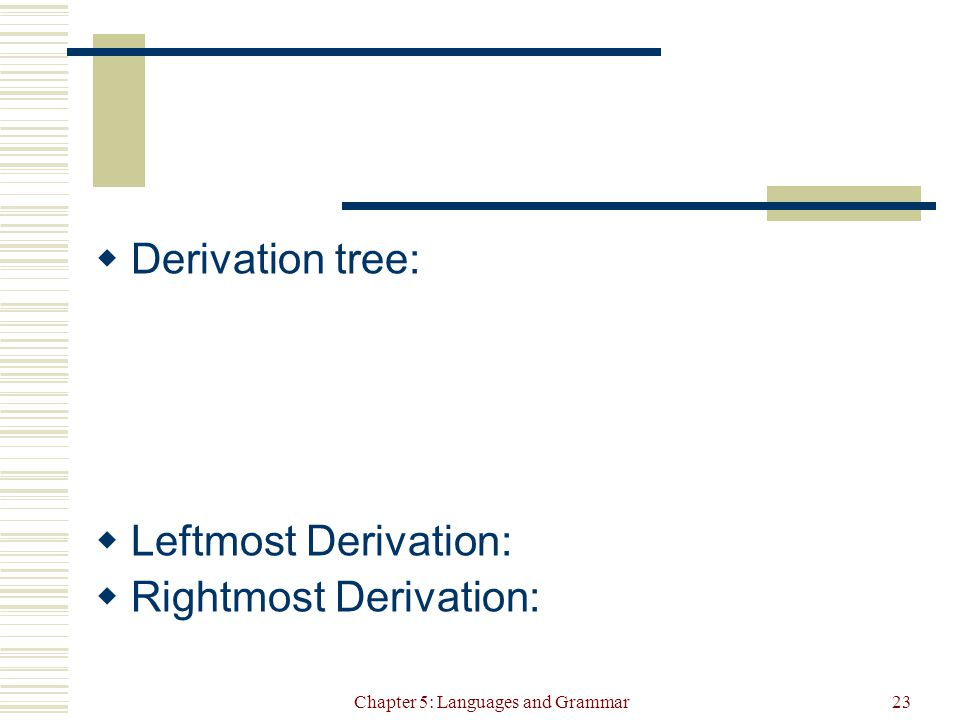Chapter 5: Languages and Grammar23  Derivation tree:  Leftmost Derivation:  Rightmost Derivation: